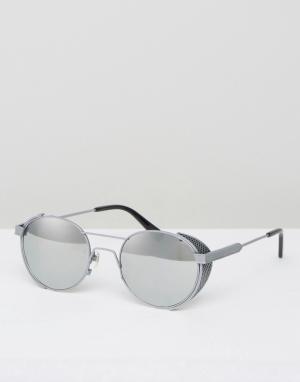 Круглые солнцезащитные очки в стальной оправе Outdoor Han Kjobenhavn. Цвет: серебряный