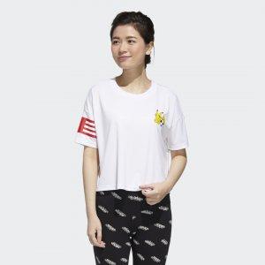 Укороченная футболка Pokémon Performance adidas. Цвет: белый