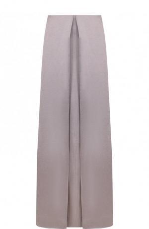 Однотонная юбка-макси из вискозы Valentino. Цвет: светло-серый