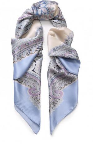 Шелковый платок с принтом Michele Binda. Цвет: синий