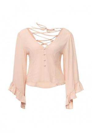 Блуза LOST INK FLARE SLEEVE BUTTON TOP. Цвет: бежевый