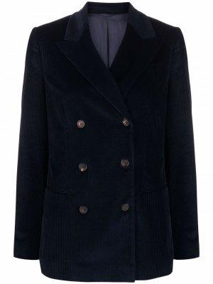 Double-breasted corduroy blazer Brunello Cucinelli. Цвет: синий