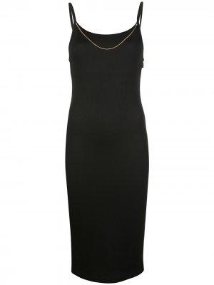 Платье миди в рубчик с цепочкой T By Alexander Wang. Цвет: черный