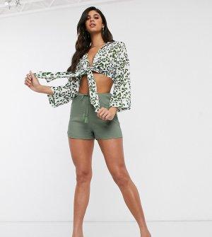 Пляжные шорты хаки с поясом на шнурке эксклюзивно от -Зеленый Akasa