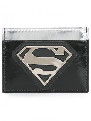 Визитница с логотипом Superman Philipp Plein. Цвет: чёрный
