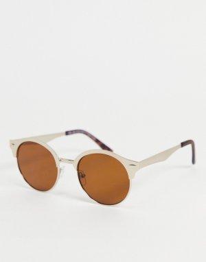 Золотистые солнцезащитные очки в круглой металлической оправе -Золотистый New Look