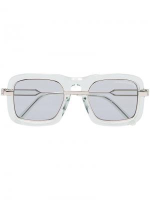 Солнцезащитные очки в толстой оправе с затемненными линзами Calvin Klein 205W39nyc. Цвет: зеленый