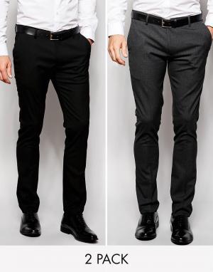 2 пары классических супероблегающих брюки ASOS DESIGN
