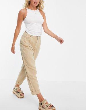 Бежевые брюки-галифе свободного кроя -Коричневый цвет ASOS DESIGN