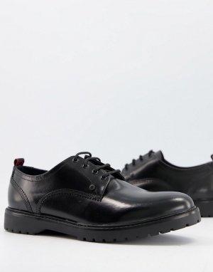 Блестящие туфли черного цвета на шнуровке Cog-Черный цвет Base London