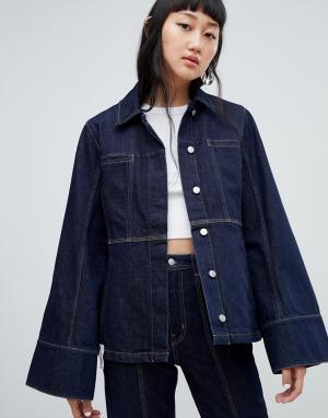 Джинсовая куртка со строчками Limited Collection Weekday. Цвет: синий
