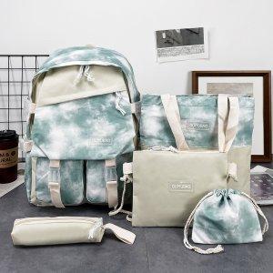 Для девочек 5шт Набор рюкзаков с узором тай-дай SHEIN. Цвет: многоцветный