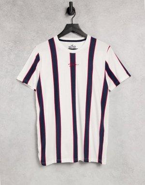Футболка с вертикальными полосками красного/белого/синего цвета и логотипом -Красный Hollister