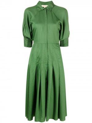 Расклешенное платье-рубашка byTiMo. Цвет: зеленый