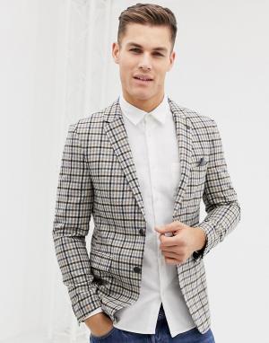 Шерстяной блейзер классического кроя в клетку бежевого цвета -Белый Burton Menswear