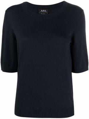 Трикотажная футболка с короткими рукавами A.P.C.. Цвет: синий