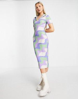 Зеленое и синее платье миди с витым принтом в рубчик короткими рукавами воротником -Разноцветный ASOS DESIGN