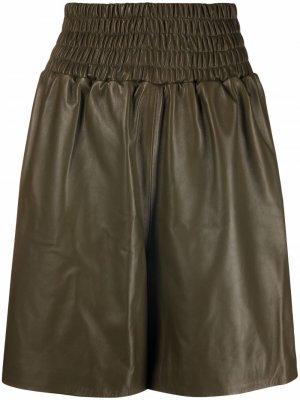 Кожаные шорты с присборенной талией Manokhi. Цвет: зеленый