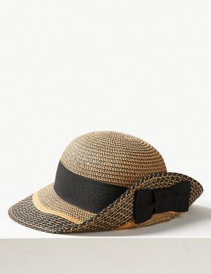 Шляпа летняя с контрастной отделкой по краю M&S Collection. Цвет: черный микс
