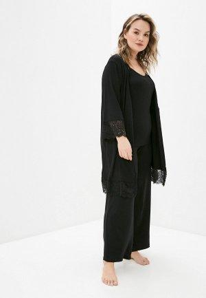 Халат и пижама Артесса. Цвет: черный
