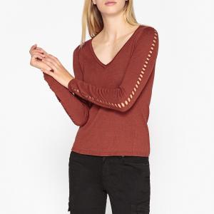 Пуловер с V-образным вырезом из тонкого ажурного трикотажа IKKS. Цвет: оранжевый