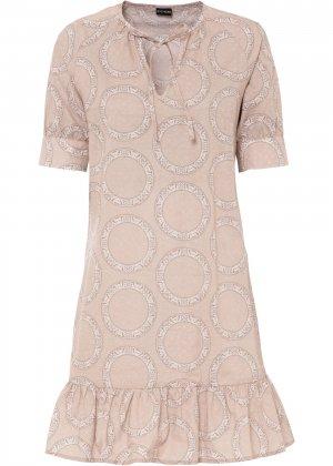 Платье с завязками bonprix. Цвет: бежевый