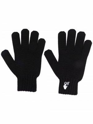 Перчатки с вышитым логотипом Off-White. Цвет: черный