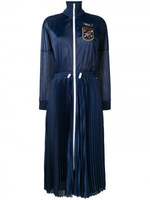 Платье в стилистике спортивной куртке RED Valentino. Цвет: синий