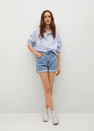 Джинсовые шорты mom-fit - Mom80 Mango. Цвет: синий средний