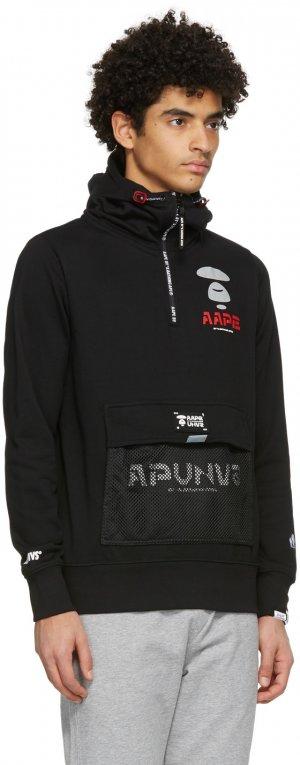 Black Logo Half-Zip Hoodie AAPE by A Bathing Ape. Цвет: black
