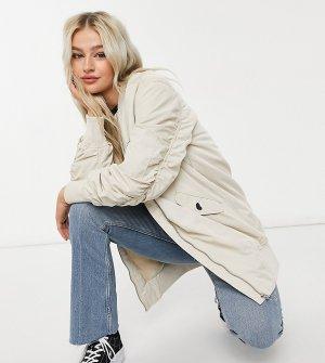 Удлиненная куртка-бомбер светло-бежевого цвета со сборками на рукавах -Нейтральный Only Petite