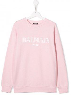 Толстовка с логотипом Balmain Kids. Цвет: розовый