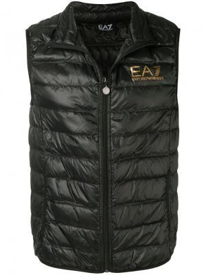 Дутый жилет без рукавов Ea7 Emporio Armani. Цвет: черный