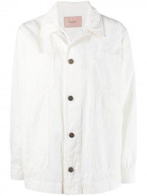 Джинсовая куртка TWINSET. Цвет: белый