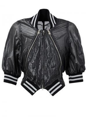 Укороченная куртка-бомбер Anrealage. Цвет: чёрный