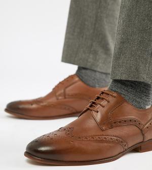 Светло-коричневые кожаные броги для широкой стопы KG By Kurt Geiger. Цвет: рыжий