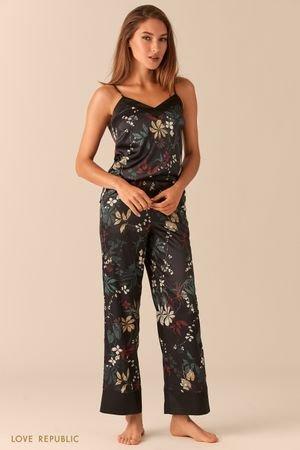 Широкие атласные брюки для дома LOVE REPUBLIC