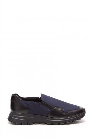 Синие кроссовки-слипоны Prada. Цвет: синий
