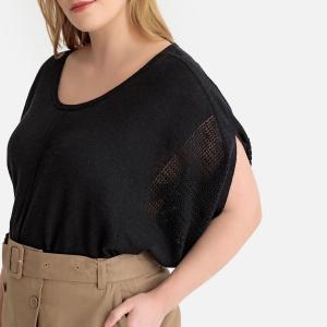 Пуловер с круглым вырезом и короткими рукавами из тонкого трикотажа CASTALUNA. Цвет: слоновая кость,черный