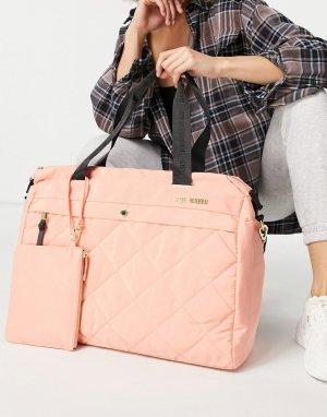 Большая стеганая сумка-тоут с маленькой сумочкой персикового цвета -Розовый цвет Steve Madden