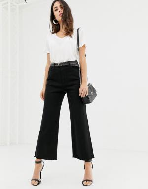 Укороченные джинсы с широкими штанинами и необработанным краем Hepburn-Черный DL1961