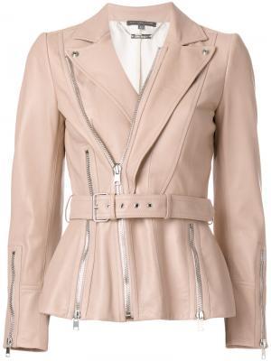 Кожаная куртка на молнии Alexander McQueen. Цвет: розовый и фиолетовый