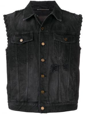 Состаренный джинсовый жилет Saint Laurent. Цвет: черный