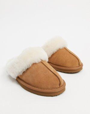 Светло-коричневые мюли-слиперы из овечьей шкуры -Коричневый цвет Redfoot