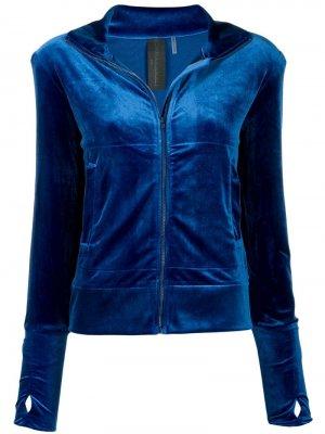 Бархатная спортивная куртка Norma Kamali. Цвет: синий