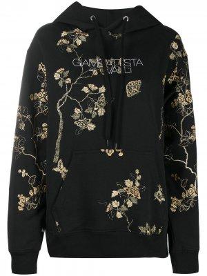 Худи с цветочной вышивкой Giambattista Valli. Цвет: черный