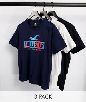 Набор из 3 футболок с логотипом в рамке эффектом омбре белого, темно-синего и черного цвета -Многоцветный Hollister