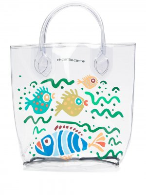 Большая прозрачная сумка-тоут с принтом 10 CORSO COMO. Цвет: белый