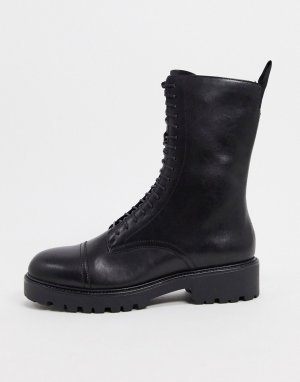 Высокие кожаные ботинки черного цвета со шнуровкой на массивной подошве -Черный цвет Vagabond
