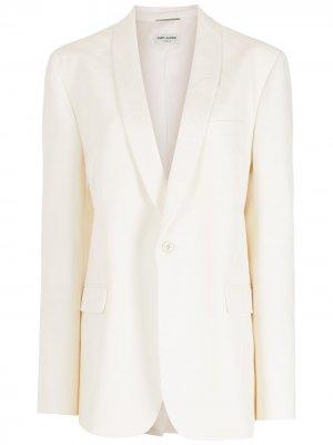 Однобортный пиджак Saint Laurent. Цвет: белый